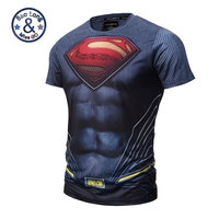 High Quality Mesh Breathes Mens Clothing Elastic Tshirt 3D Superman Short Sleeve T Shirt Men 3D