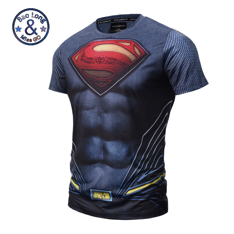 High quality <font><b>Mesh</b></font> breathes <font><b>Mens</b></font> Clothing Elastic <font><b>tshirt</b></font> 3D Superman Short Sleeve T Shirt <font><b>Men</b></font> 3D T Shirt Tees Tops Shirts M-3XL image