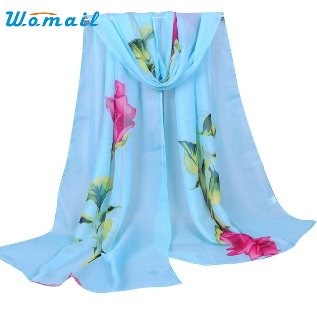 Womail Good Deal New Fashion Women Rose Long Soft Wrap Scarf Ladies Flowers Spring Shawl Chiffon Scarves Christmas Gift 1PC*14