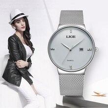 Lige relógio feminino impermeável, relógio de pulso casual simples para mulheres, ouro rosa, preto, quartzo, 2019Relógios femininos