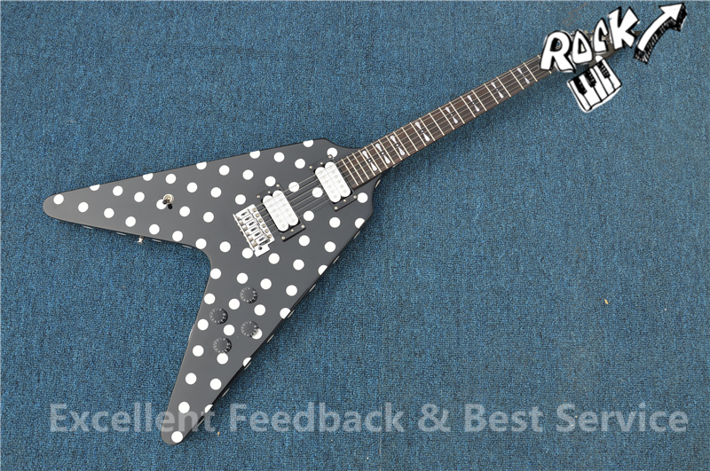 good cheap price randy rhoads guitar harpoon polka dot flying v electric guitar black and white. Black Bedroom Furniture Sets. Home Design Ideas