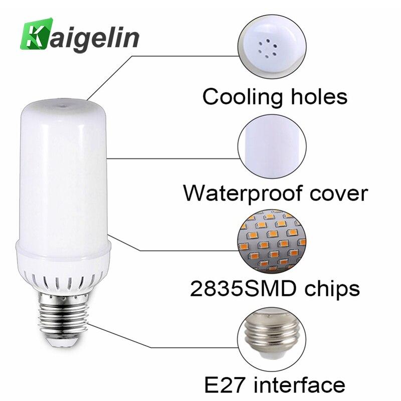 Kaigelin 96 PCS SMD2835 LEDs Flame Effect LED Bulb 85-265V LED Fire Flame Bulb E27 Flickering Emulation Flame Light Bulb