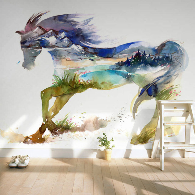 Kinderzimmer Wand Papier Aufkleber Gemalt Pferd Foto Tapete Wandbild ...