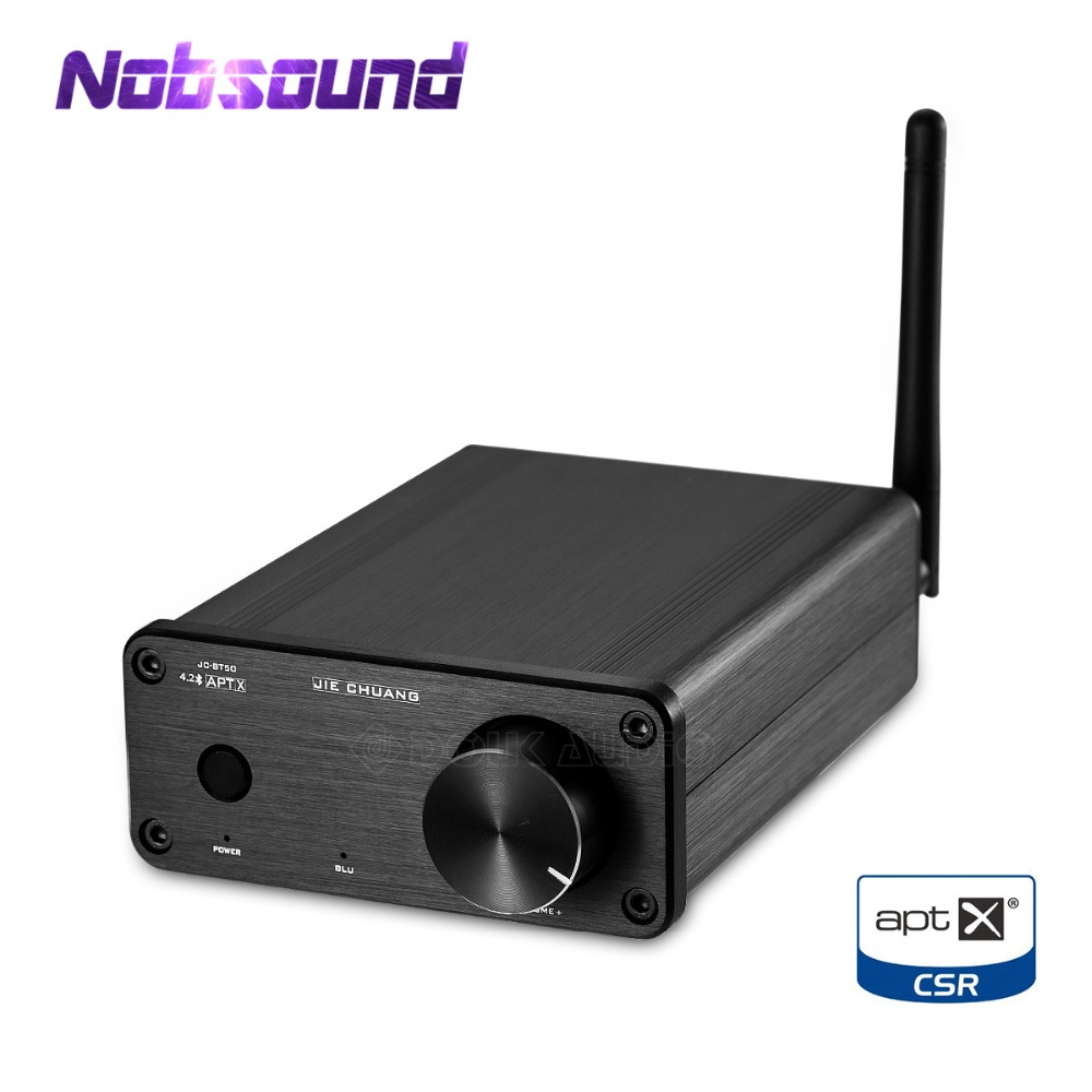 Nobsound Mini TPA3116 Digital Power Amplifier Bluetooth 4.2 Audio Receiver APTX 50W+50W Black Chassis With Power Adapter nobsound hi end audio noise power filter ac line conditioner power purifier universal sockets full aluminum chassis