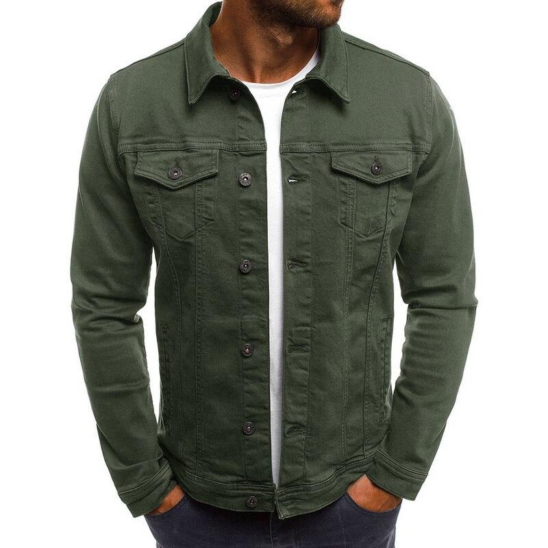 Oeak Men Slim Jeans Jackets Fashion Streetwear Casual Denim Jacket Turn-down Collar Single Breasted Solid Faux Pocket Jeans Coat