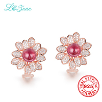 l&zuan 925 Sterling Silver 5.59ct Natural Tourmaline Red Stone Elegant Clip Earrings For Woman Gift