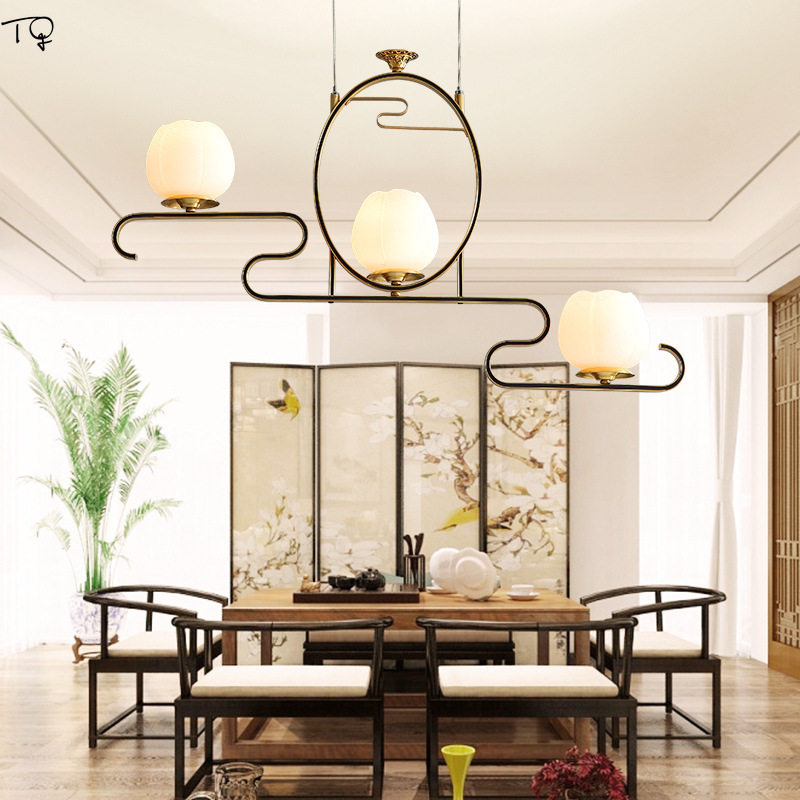 New Chinese Pendant Lights All Copper Zen Art E27 Led Living Room Traditional Creative Oriental Elements Teahouse Dining  Lamp