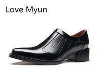 New High Heeels Genuine Leather Dress Men Shoes Black Wedding Shoes Men's Pointed Toe Zip Business Leisure Work Shoes Size 36 44