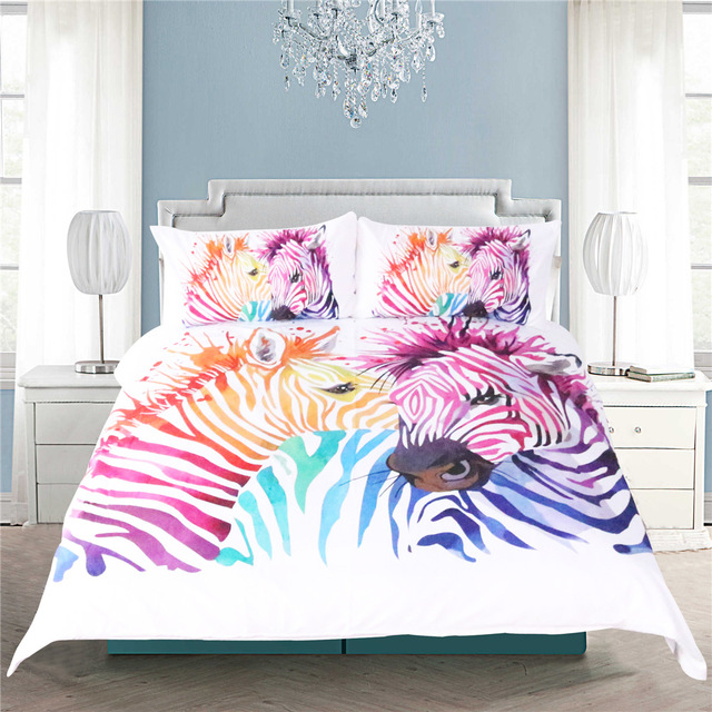 Illucity Colorful Zebra Children Duvet Doona Cover Set King Queen Double Full Twin Single Size