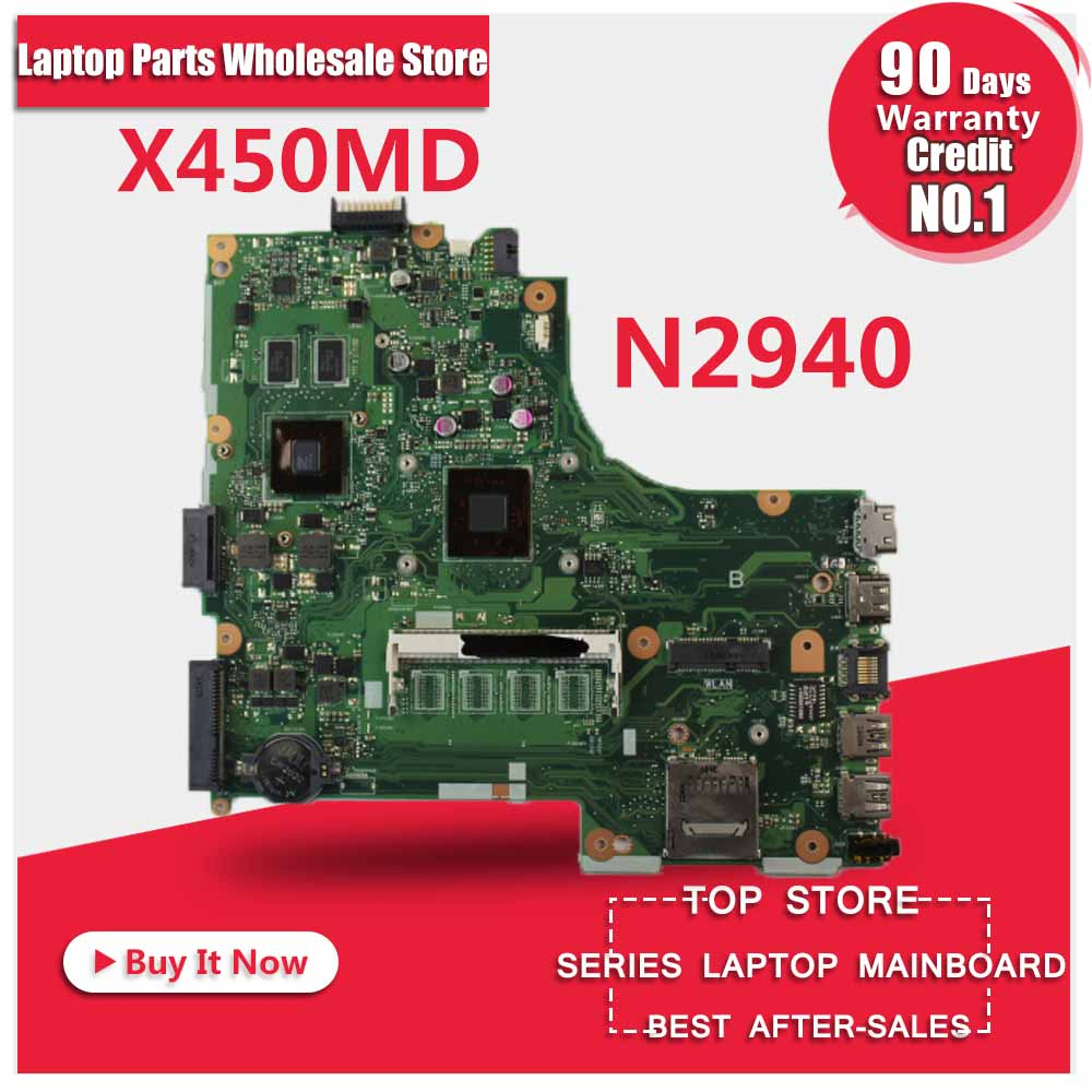 Laptop Motherboard  For AsusX450MD X450M  X452M With N2940 CPU MOTHERBOARD Mainboard REV2.0 100% Tested FREE SHIPPING for asus 900ax laptop motherboard mainboard 1gb with cpu tested 100% and fully working