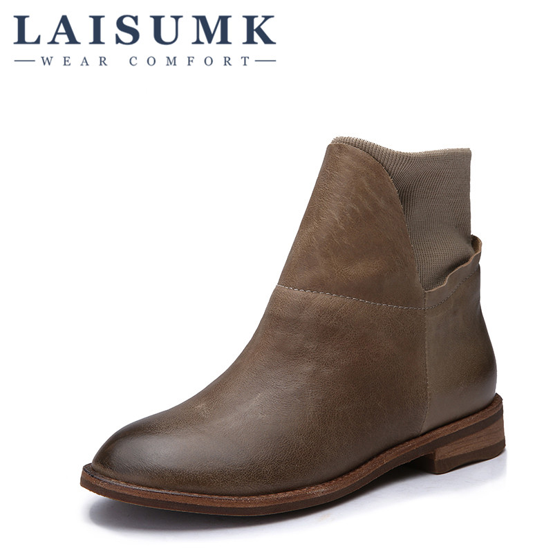 2018 LAISUMK Genuine Leather Women Boots Flat Heel Vintage Handmade Women Shoes Ankle Boots 2018 genuine leather women boots flat heel vintage handmade women shoes ankle boots