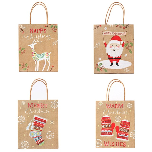 fashion s m l kraft paper bag popcorn candy box christmas goodie