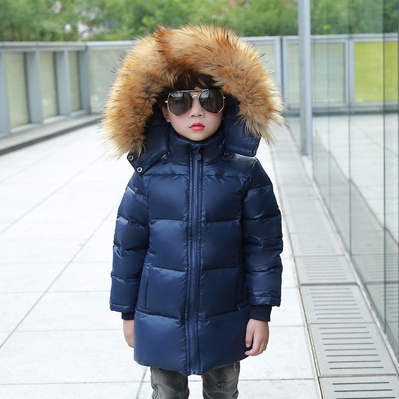 Children Duck Down Jacket Coat With Imitation Fur Boy Girl Removable Hooded Overcoat Winter Warm Thick Outerwear Kid Clothes russia winter boys girls down jacket boy girl warm thick duck down