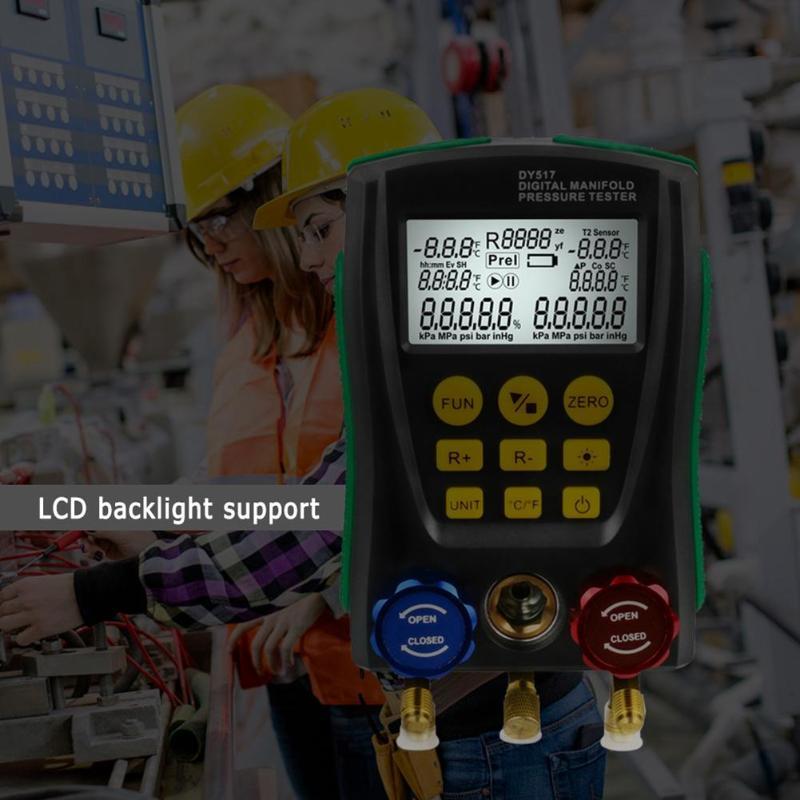 Image 5 - DY517 Pressure Gauge Refrigeration Digital Vacuum Pressure Manifold Tester Meter Temperature Tester 0 Kpa~6000 Kpa-in Pressure Gauges from Tools