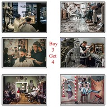 Barber Shop Poster Clear Image Wall Stickers Home Decoration Good Quality Prints White cardboard Paper home art Brand good shop 909g