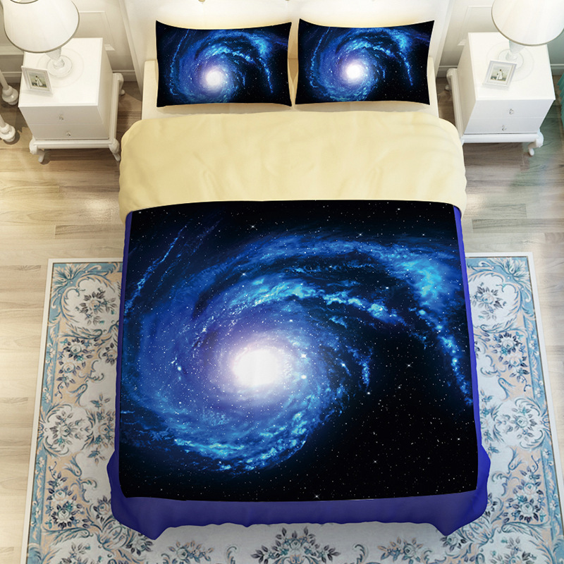 hot sale 3d galaxy star starry sky nightly design twin queen bedding bed sheet set bedclothes - Twin Bed For Sale