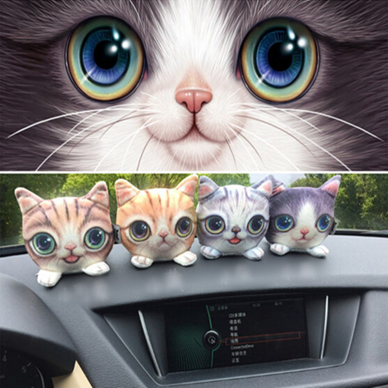 1 piece 3D printed cat car styling decoration,cute lovely gift to girl boy friend vivid funny cat puppy plush animal soft toy head shaking cute cat style toy for car decoration white