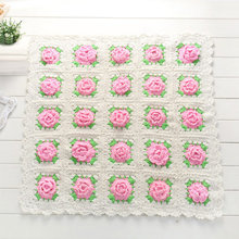Swokii Newborn Baby Wool Flower Crochet Knit Blanket Square