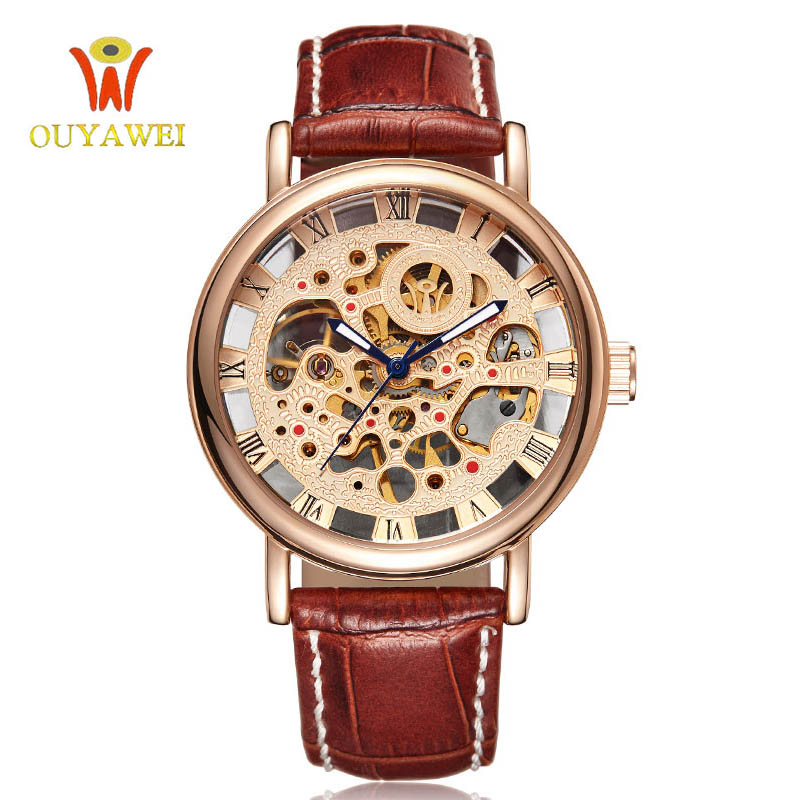 self winding watches promotion shop for promotional self winding ouyawei luxury brand men watch gold skeleton casual watches mechanical hand wind wrist watches man s clock reloj hombre