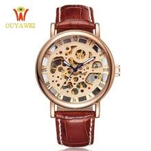 OUYAWEI Luxury Brand Men Watch Gold Skeleton Casual Watches Mechanical Hand Wind Wrist watches Man's clock Reloj Hombre