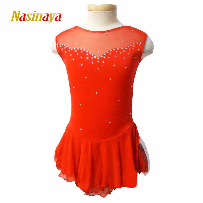 Figure Skating Dress ice Skirt Customized Costume Gymnastics Competition Adult Child Girl Performance red rhinestones shiny vik max adult kids dark blue leather figure skate shoes with aluminium alloy frame and stainless steel ice blade