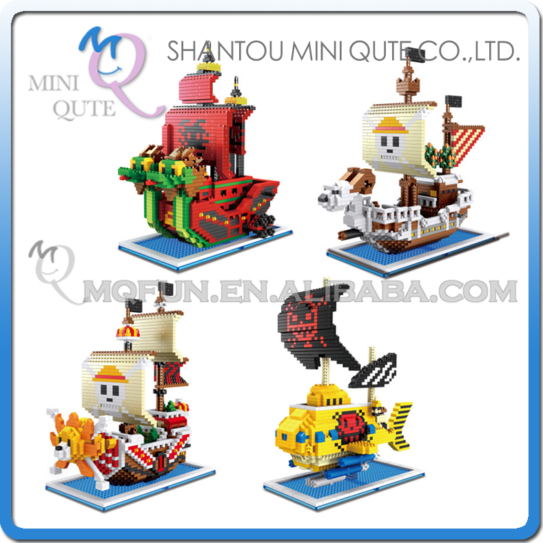 4pcs Mini Qute ZMS Anime cartoon one piece Going Merry Thousand Sunny pirate ship building blocks action figure educational toy