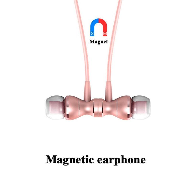 3.5mm Metalen Magnetische Sport Running Oortelefoon In-ear Oordopjes Duidelijkheid Stereo Geluid Met Microfoon Headset Voor Mobiele Telefoon Mp3 Mp4 Pc