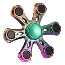 มาใหม่EDCของเล่นหกใบสายรุ้งดอกไม้มือปั่นอยู่ไม่สุขของเล่นของขวัญโลหะแบริ่ง