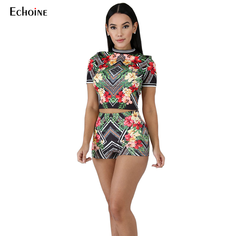 2019 New Summer Women Two Piece Outfits Bohemian Floral Print Tracksuit Short Sleeve Shorts Suit Sexy Tight 2pcs Set Outfit