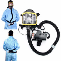 Electric Supplied Air Fed Full Face Gas Mask Constant Flow Respirator System Device LCC77