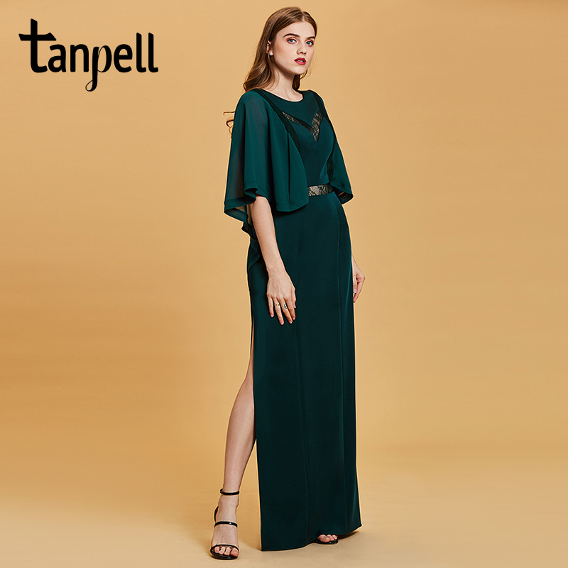 Tanpell fashion plus evening dresses hunter scoop a line floor length dress chiffon half sleeves lace