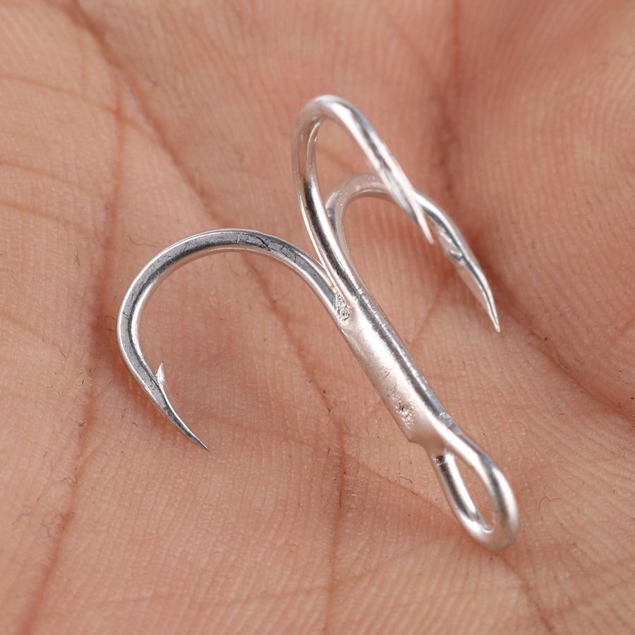 10pcs Fishing Hook High Carbon Treble Hooks Super Sharp Solid Triple Barbed Steel Fish Hook Size 2 4 6 8