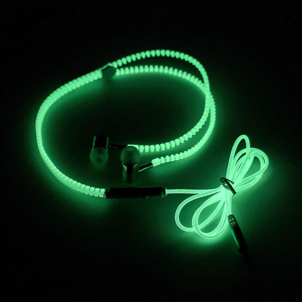 Wysokiej jakości pełne świecące słuchawki lampa metalowy zamek słuchawki telefony świecą w ciemności dla Iphone Samsung MP3 z mikrofonem