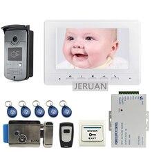 LIVRAISON GRATUITE 7 «écran Interphone Vidéo Porte Téléphone Système + 1 Blanc Moniteur + Extérieure RFID Accès Sonnette Caméra + Serrure Électrique