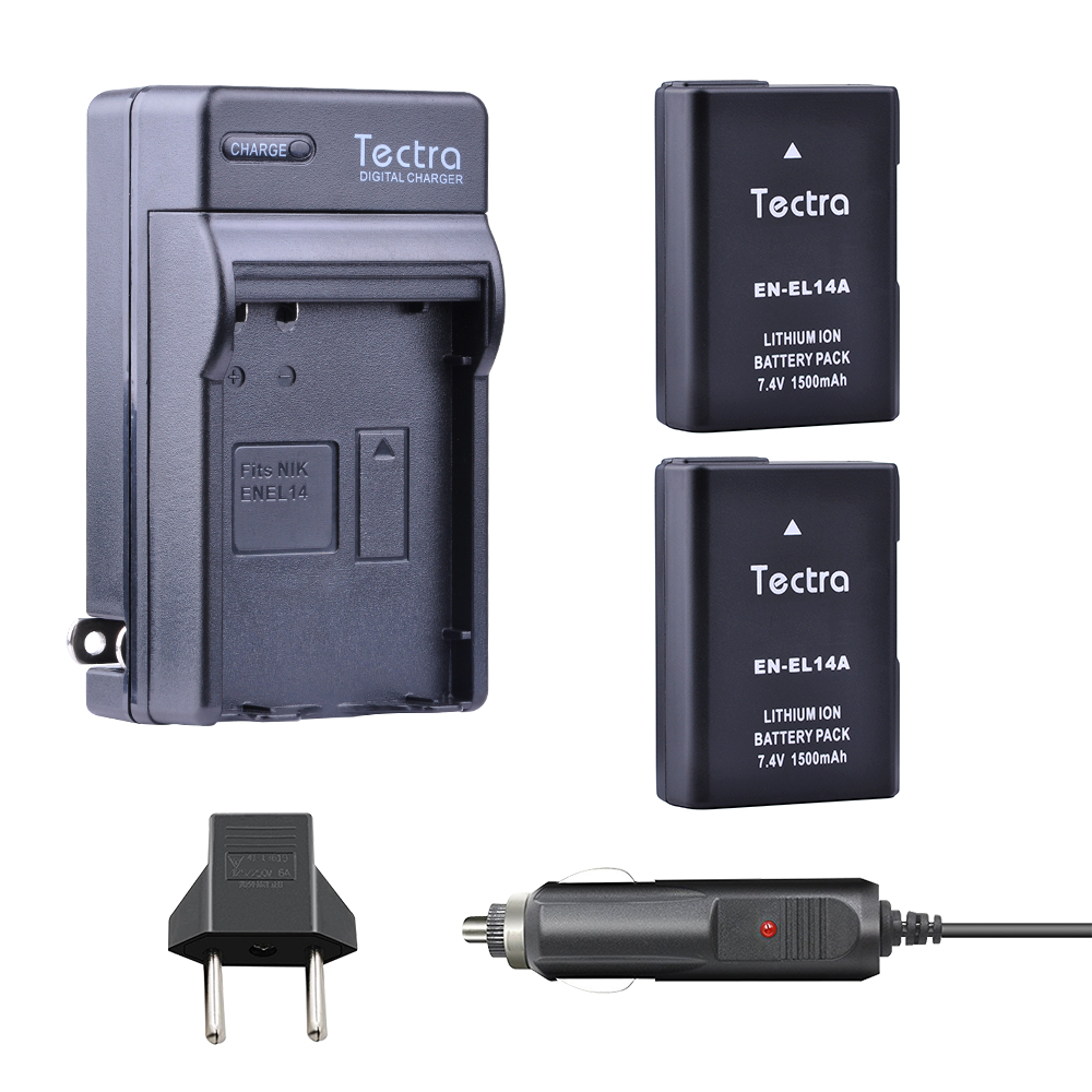 1500mAh EN-EL14 EN EL14a Battery for Nikon D5300 D5200 D5100 D3500 D3200  D3400 ENEL14 EN EL14 Battery+Digital Charger+Car Plug