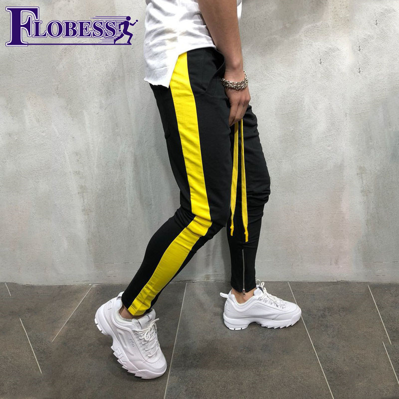 2018 Hot Sale Mens Panelled Striped Sports Pants Running Trousers Quick-drying Slim Fitness Gym Sportwear Workout Jogger Pant drawstring spliced camo jogger pants