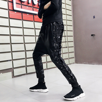 Men Casual PU Leather Pant Motmrcycle Harem Trousers Streetwear Hip Hop Male Punk Rock Stage Show Costome Autumn Winter Clothes