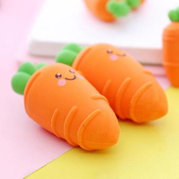 3Pcs Mini Carrot Cute Rubber Erasers Gift Stationery for Children Kids Students New Arrival Office & School Supplies