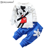 2015 Boys Girls Cotton Spring Sport Suit Kids Mickey Minnie Clothing Set Kids Fashion Clothes Baby