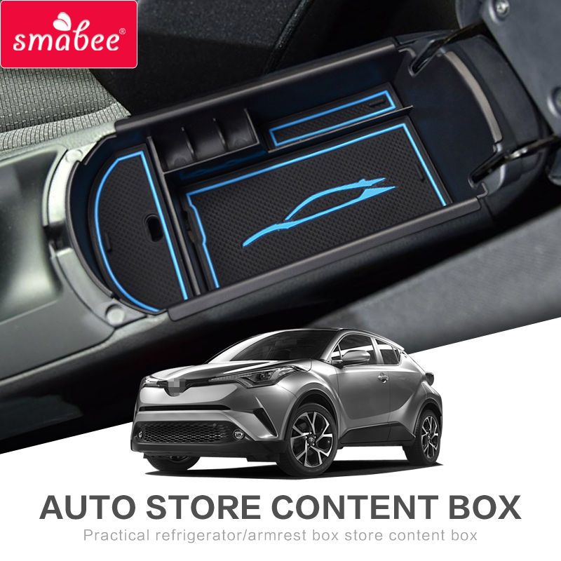 Automobiles suit  For TOYOTA C-HR 2016 2017 Car Central Armrest Box storage box  Interior Accessories Stowing Tidying  CHR BLUE стоимость