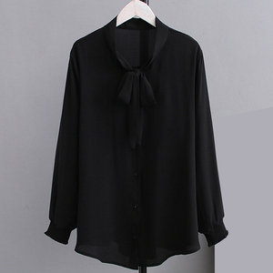 Image 2 - Summer Chiffon Blouses 2XL 5XL Casual Womens Fashion Bow Long sleeve Shirts white Loose Large size Stand Blouses women