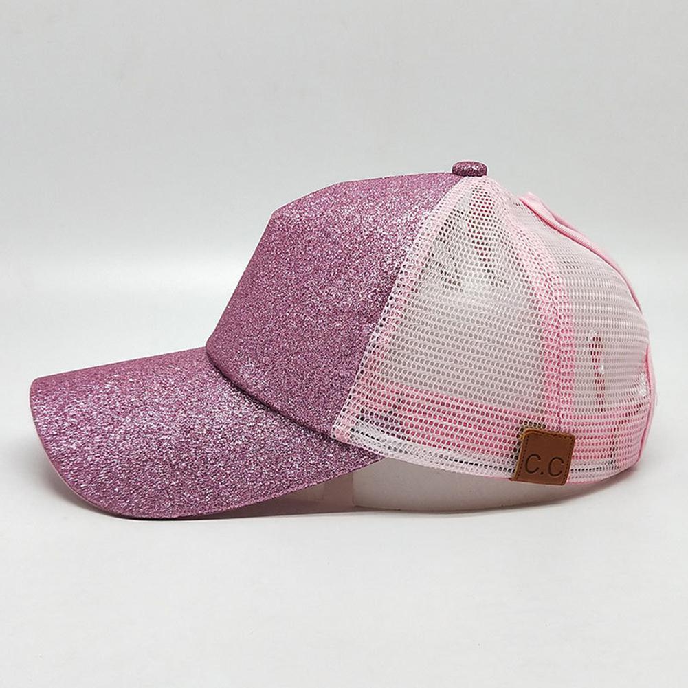 Mesh Breathable Sunhats Unisex Women Breathable Paillette Cap With Ponytail Hole Summer Sun-screen Golden Pink Hat San0 Profit Small