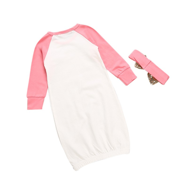 Cotton Dressing Jersey + Head Knot Autumn Winter Baby Sleeping Clothes Crown Printed Clothes for Baby Boy Girl Sleep Tops