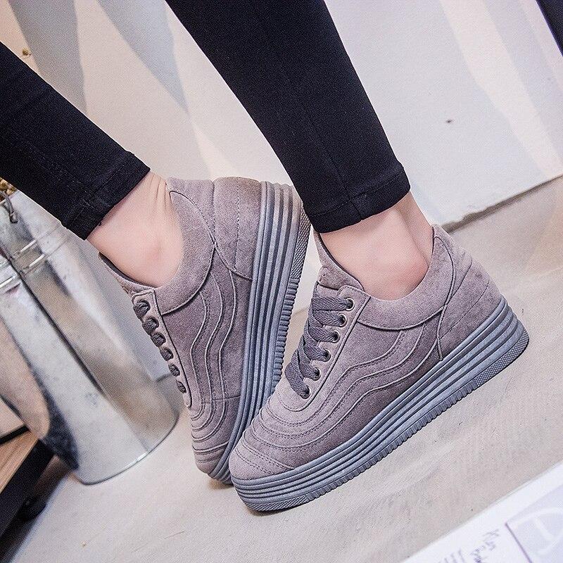 Diseñador de Ante de Las Mujeres Zapatos de Lona de la Plataforma de Las Señoras