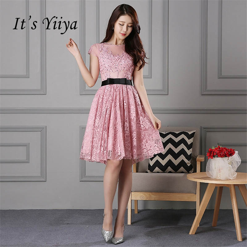 It's YiiYa New Pink Illusion Short Sleeves Flowers Zipper Lace   Cocktail     Dress   Knee Length Formal   Dress   Party Gown LX132