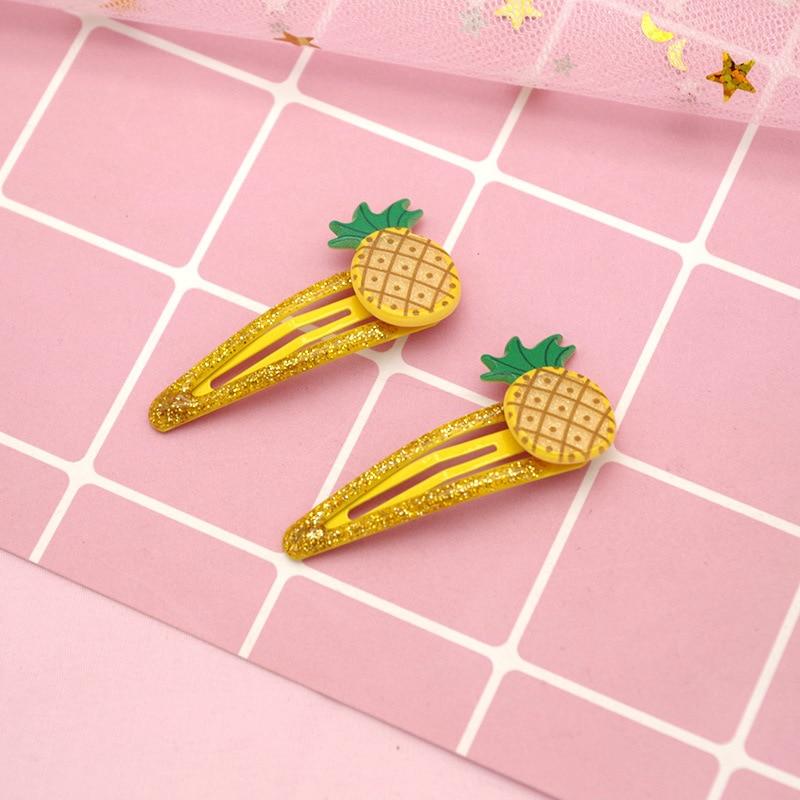 2PCS Cute Candy Colors Fruit BB Clips Hairpins Girls Hair Accessories Children   Headwear   Baby Hair Clips Headdress