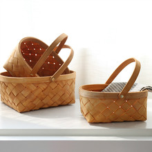 Natural Wood Color Rectangular Basket with Carrying Handle Hand-woven Plant Hanging Baskets Storage Shopping Basket