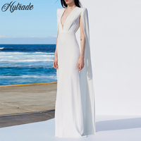 Hytrade HL 2018 New Chiffon Summer Elegant V Neck Sexy Plunge Evening Gown Party Vestidos Long Bandage Maxi Dress with Cape