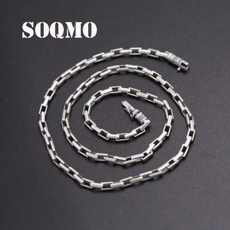 SOQMO solide 925 argent Sterling 5mm 60 cm lien chaîne hommes collier Vintage Steampunk rétro fait à la main en argent Sterling bijoux