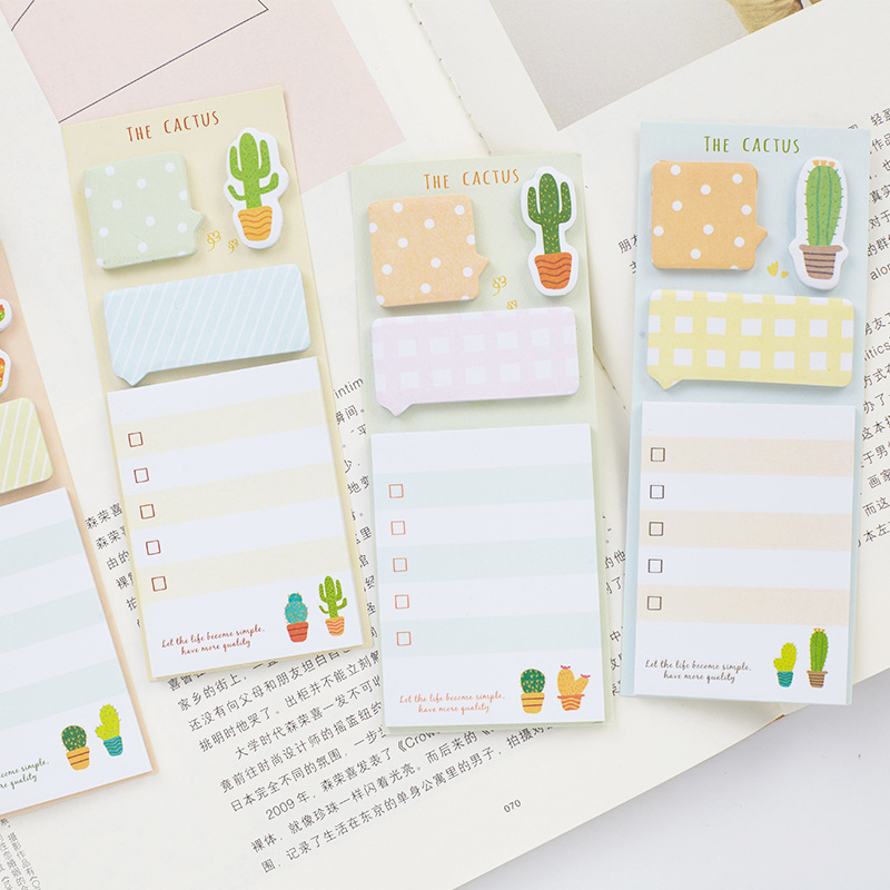 2pcs Cactus Plan List Memo Pad Kawaii Bullet Journal Note Pad Planner Diary Label Stickers School Supplies Chancery Stationery plan